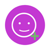purple circle with smiley face and plus sign icon