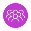purple circle with group of people icon