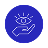 blue circle with hand holding an eye icon