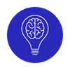 blue circle with white brain in lightbulb icon