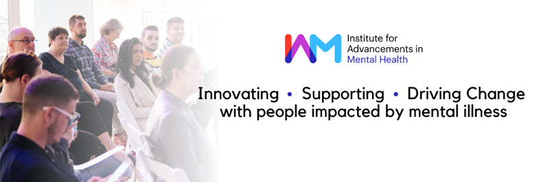 "Group of people on the left, IAM logo, and text in the middle ""innovating, supporting, driving change with people impacted by mental illness"