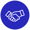 "icon of handshake with text ""partnership"""